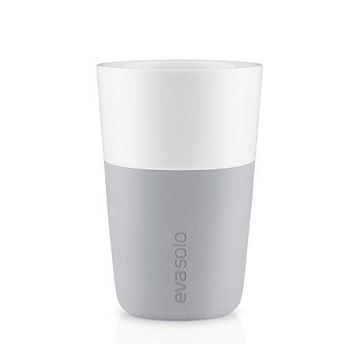 Eva Solo 5706631070706 501046 Latte-Becher, Silikonschale, 360 ml, Porzellan, marble grau, 8,5 x 8,5 x 12,5 cm, 2-teilig